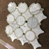 [لوو بريس] تصوّر بيضاء رخاميّة مستديرة أسلوب [وتر جت] فسيفساء