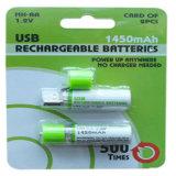 Batterie AA1.2V 1450mAh, 600mAh, 500mAh USB-NI-MH