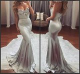 Parte Strapless Prom Robes Silver Lace Spandex noite vestidos G11399
