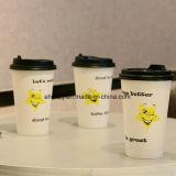 Кофейные чашки прямой связи с розничной торговлей 8oz фабрики одностеночные бумажные с черной пластичной крышкой