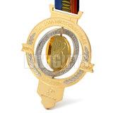 Medalha feita sob encomenda do chapeamento de ouro do metal do esporte da liga do zinco com gravura