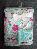 단단한 Sherpa 마이크로 연약한 아기 담요를 가진 와플 Flannel