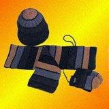 Multi-Colored Chapeau tricoté en acrylique, écharpe et gants de protection définie