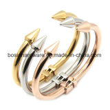 Серебряный браслет женщин из нержавеющей стали с конусом стрелки конец манжеты