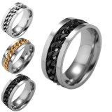 Joyas de Diseño de la cadena de plata Anillo de acero inoxidable para Mens