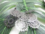 Estilo étnico oco de cobre de metal preta flor grande brinco