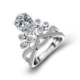 결혼식 보석을%s 경이로운 크라운 작풍 배 커트 Moissanite 다이아몬드 은 반지