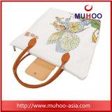 La moda bolso de lona de algodón de dibujos animados/Playa Bolsa de compras para damas