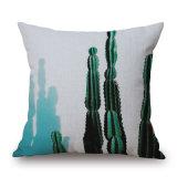 Ropa de algodón, plantas tropicales de Cactus de Aloe Funda de cojín sin llenar (35C0252)