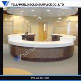 New Design High Gloss Artificial Stone Round Reception Desk