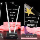 Ясности оптовой продажи экспорта пожалований трофея звезд стекло кристаллический белое выгравированное с черным основанием