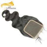 Закрытие шнурка волос людской Unprocessed девственницы 100% бразильское