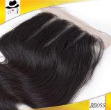 Fermeture de l'onde 4*4lace de corps première de cheveu brésilien de Vierge