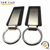 Metal promocional llavero de cuero de PU con anillo