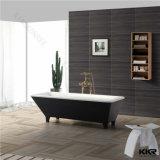 贅沢なアクリルの固体表面の支えがなく黒い浴槽