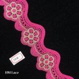 6.5cmはレースの服Hme878のためのピンクのカーブのフリンジのトリムのレースが付いている花を刺繍した