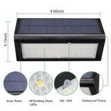 Luz sin hilos al aire libre ligera solar de la pared de la seguridad del sensor de movimiento del radar de microonda de 48 LED