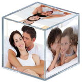 Elegante Photo Cube acrílico transparente de plexiglás Photo Cube