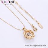 44742 Xupingは新しい女性の宝石類2017年のためのデザイン18K金によってめっきされた二重吊り下げ式のネックレスを精製した