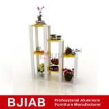 Personalizar la moderna casa de aluminio muebles de madera de teca dorada de estante de flores
