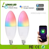 Alexa와 Google Assistant를 가진 5W E12 RGB+6000K Daylight WiFi Smart LED Light Bulb Compatible