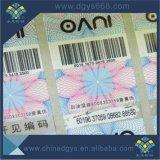 Collant noir élevé fait sur commande d'étiquette d'hologramme de numéro de code barres de Quanlity