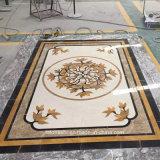 Médaillon Waterjet en pierre de marbre beige pour l'étage d'hôtel et de villa
