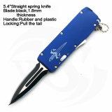 """5.4 """" ont fermé le couteau droit de ressort de traitement en plastique en caoutchouc avec la lame noire"""