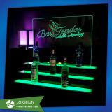 Supporto di bottiglia acrilico della visualizzazione del vino con l'indicatore luminoso del LED, cremagliera di visualizzazione acrilica di spirito del commercio all'ingrosso