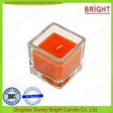 Vela de cristal del tarro de la dimensión de una variable cuadrada tamaño pequeño con fragancia