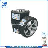 Collant adhésif élevé argenté fait sur commande d'étiquette de pneu de papier d'aluminium