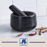Mortaio e pestello neri poco costosi del granito per la cucina