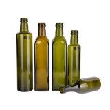 quadratisches dunkelgrünes Glas 500ml, das Olivenöl-Flasche mit Aluminiumschutzkappen kocht