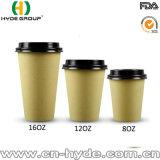 Bambusmassen-Kaffee-Papiercup mit Winkel- des Leistungshebelskappe