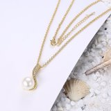 Collar ambiental de la perla de la dimensión de una variable del agua del oro para las mujeres