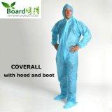 Vêtement protecteur microporeux non tissé remplaçable de combinaison de PP/PP+PE/SMS/Sf/avec le capot et la gaine