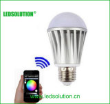 CCT Adjustive y bulbo del RGB LED del bluetooth de Dimmable del brillo