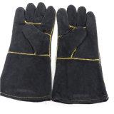 14inch黒いカラー牛そぎ皮の頑丈な手袋
