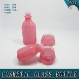 Bouteille de lotion de bouteille en verre de rose cosmétique de constructeurs et choc elliptiques de crème