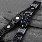 Bracelet plaqué noir titanique de fibre de carbone pour les hommes