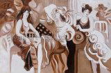 Arte moderna dipinta a mano della parete della pittura a olio delle ragazze dell'impressione