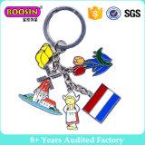 Commercio all'ingrosso internazionale #16589 della fabbrica della Cina dell'anello portachiavi del metallo di Keychain di fascino della bandierina dello smalto promozionale dei monili