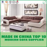 Sala de visitas L base do sofá do couro genuíno da forma