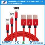 Cable de datos trenzado del USB de la cuerda del nilón colorido para el teléfono móvil