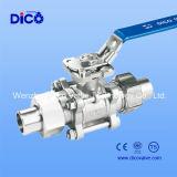 3PC Kugelventil mit Verbindungsstück-Kolben-Schweißungs-Ende