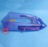 De aangepaste Blauwe die Zak van het Handvat van pvc voor Toiletries met Één Ritssluiting wordt geplaatst (yj-B035)