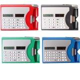 Multi-funcional caja de plástico de la tarjeta de nombre con el bolígrafo bolígrafo solar calculadora