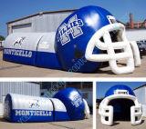 Túnel inflável do capacete de futebol, grande capacete de futebol inflável para o jogo do esporte