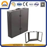 Etui professionnel en aluminium noir et lisse avec miroir et lumière ((HB-6309)