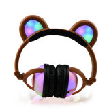 귀여운 재미있은 관례 LED 가벼운 아이 헤드폰을 착색하십시오
